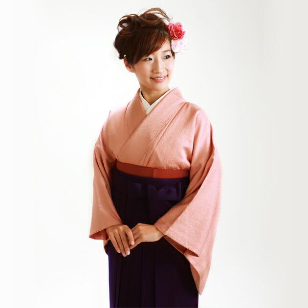 卒業式 袴 レンタル サーモンピンク色 広幅 身長〜165cm,13号〜15号 NT-muji103