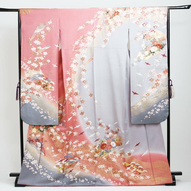 振袖 レンタル,〜165cm ピンクグレー/四季花に鶴 結婚式 成人式 結納 NT-166
