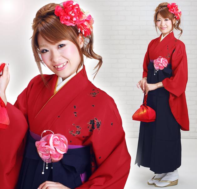 卒業式 袴 レンタル 赤色 桜 身長〜160cm,7号〜13号 NT-226