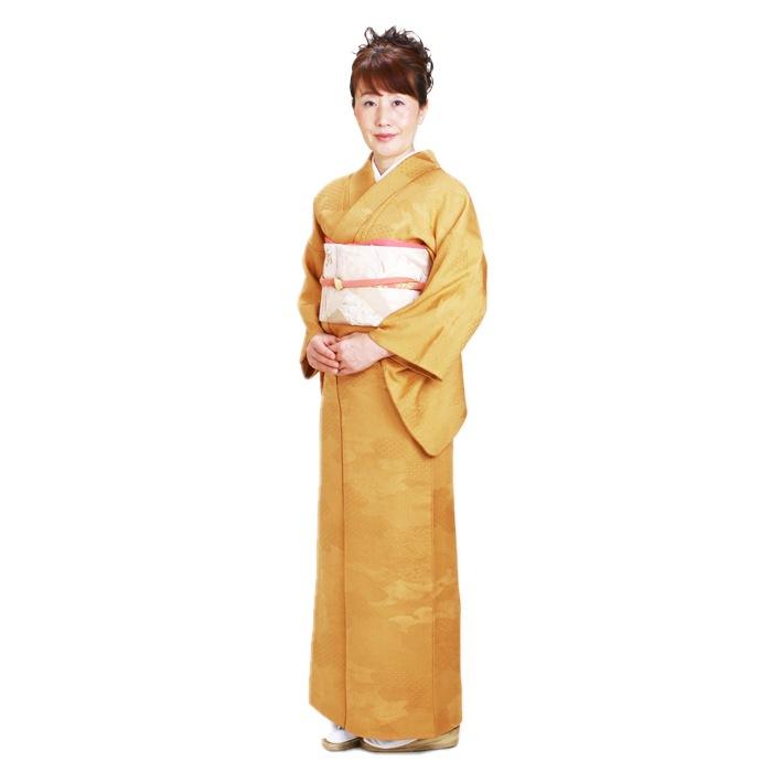 色無地 レンタル 袷 10月〜5月向け 高級正絹 からし色 着物 一つ紋 お茶会 入学式 卒業式 NT-53