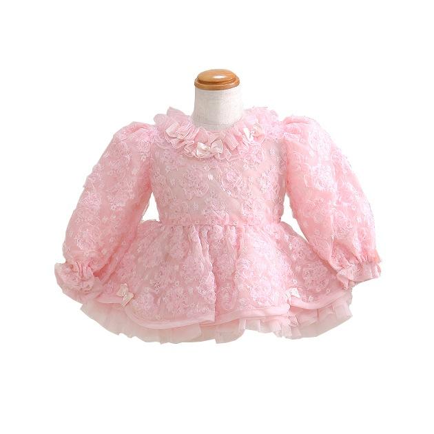 子供 ドレス レンタル 1〜2才 ピンク色 長袖 er3025