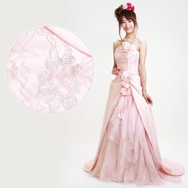 二次会ドレス レンタル 7-9号 Aライン ピンク 結婚式の2次会に 8210