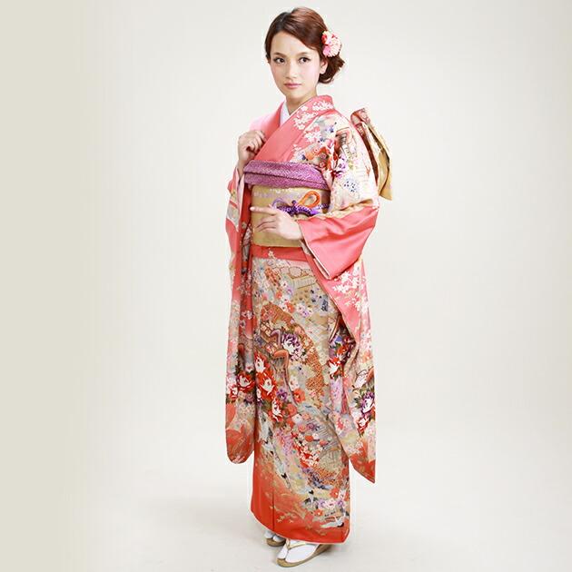 振袖 レンタル,〜168cm ピンク色/四季花に御所車 結婚式 成人式 結納 NT-108