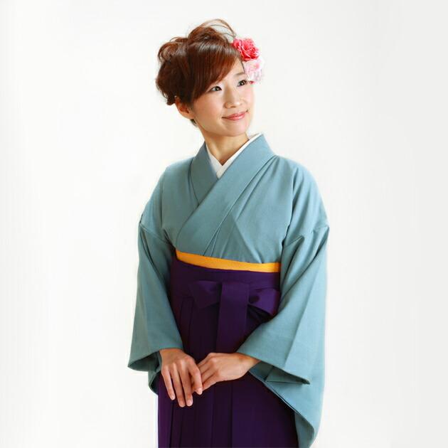 卒業式 袴 レンタル ブルー色 広幅 身長〜160cm,13号〜15号 NT-muji106
