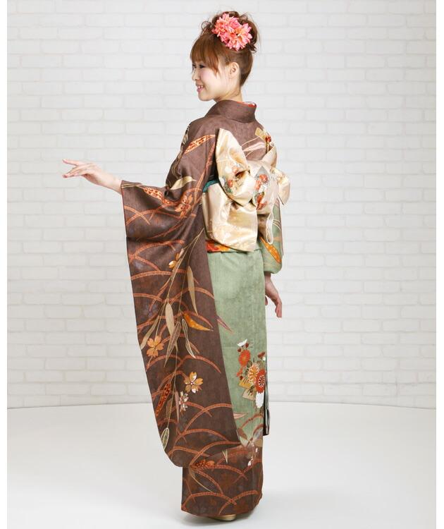 振袖 レンタル,〜168cm 緑・茶/色どり笹に花いかだ 結婚式 成人式 結納 NT-168