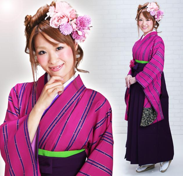 卒業式 袴 レンタル ピンク色 コシノ竹 ストライプ 身長〜170cm,7号〜13号 NT-243