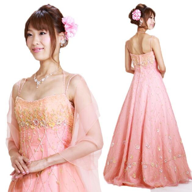 二次会ドレス レンタル 5-9号 Aライン ピンク 結婚式の2次会に 8329