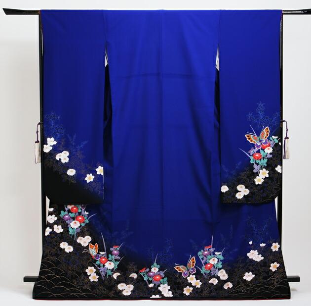 振袖 レンタル,〜165cm 青色/菊に蝶 結婚式 成人式 結納 NT-204