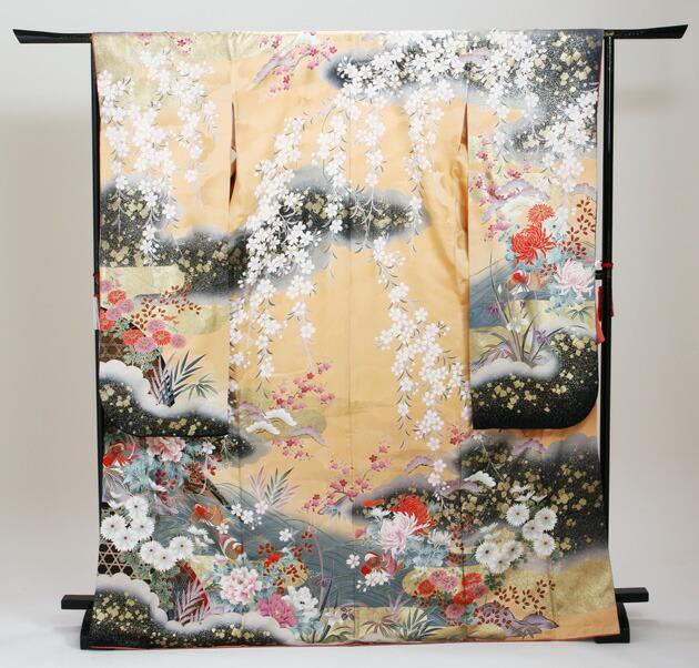 振袖 レンタル,〜168cm ゴールド色/おしどりに四季花 結婚式 成人式 結納 NT-174