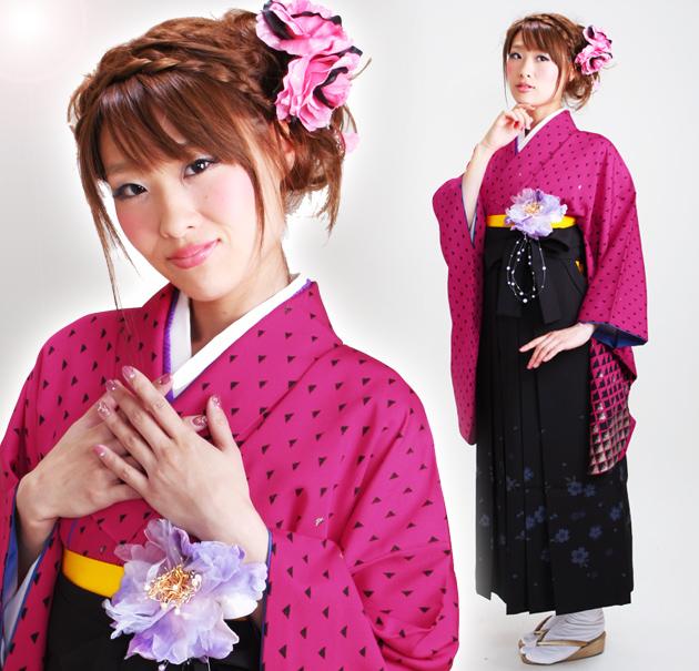 卒業式 袴 レンタル ショッキングピンク色 コシノ 身長〜160cm,7号〜13号 NT-245