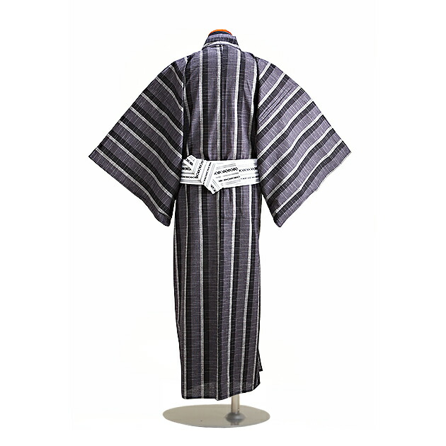 【浴衣 メンズ レンタル】ゆかたレンタル 3点セット☆浴衣・帯・下駄☆nt-my127 黒グレーうすグレー縞