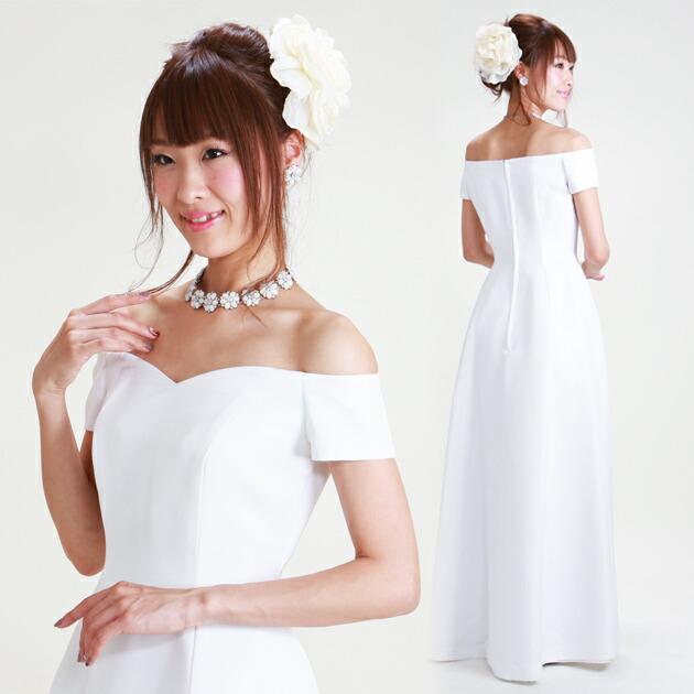 二次会ドレス レンタル 9号 Aライン ホワイト 結婚式の2次会に 8232