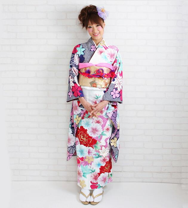 振袖 レンタル,〜168cm 白地にピンク紫色/ぼたん・桜・もみじ 結婚式 成人式 結納 NT-301