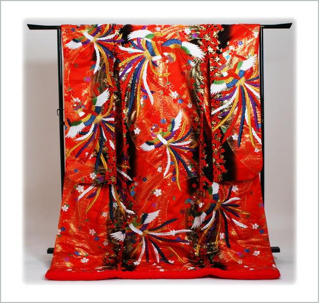 色打掛レンタル 赤色/:流水に桜吹雪 NT-710