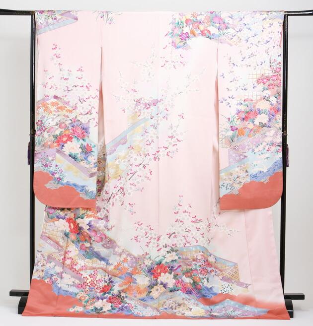 振袖 レンタル,〜168cm ピンク色/花鳥 結婚式 成人式 結納 NT-100