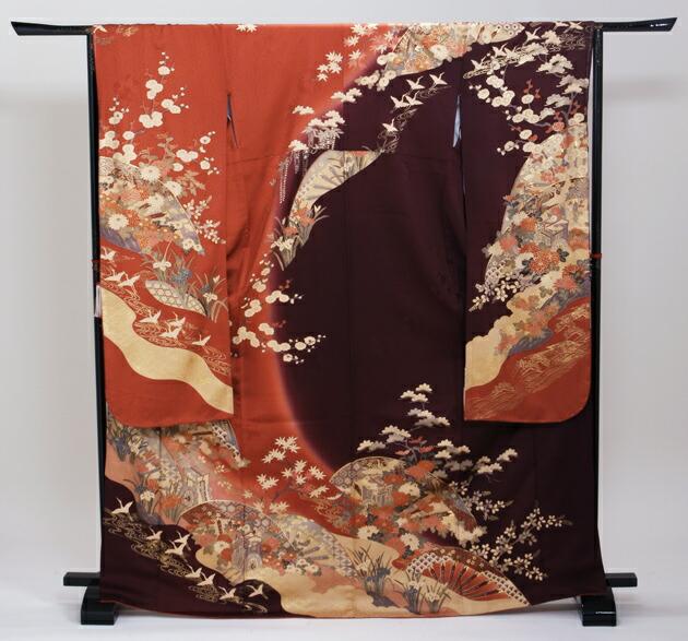 振袖 レンタル,〜168cm エンジ・ダークオレンジ・茶色/御所車に四季花 鶴 結婚式 成人式 結納 NT-177