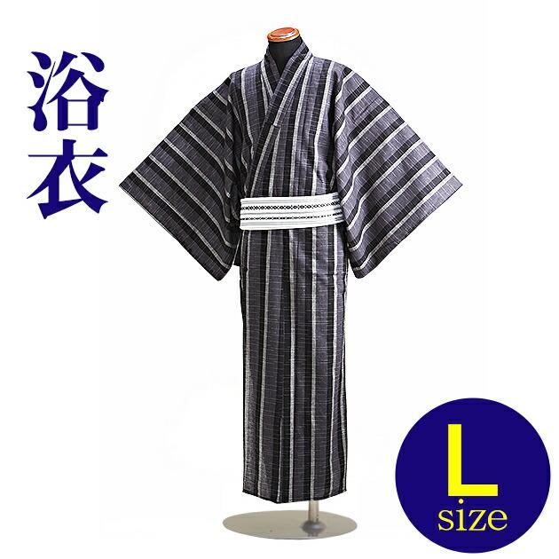 【浴衣 メンズ レンタル】ゆかたレンタル 3点セット☆浴衣・帯・下駄☆nt-my128 黒グレーうすグレー縞