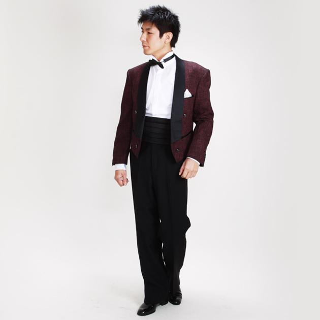 【スペンサー タキシード レンタル】M・Lサイズ/165cm〜172cm/エンジ ツイード 秋冬 pt735