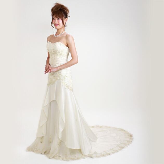二次会ドレス レンタル 7号-9号 マーメイドライン オフホワイト 結婚式の2次会に 8211