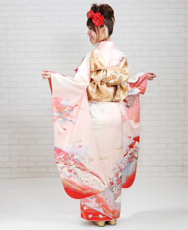 振袖 レンタル,〜168cm 薄ピンク色/御所車飛鶴四季花 結婚式 成人式 結納 NT-113