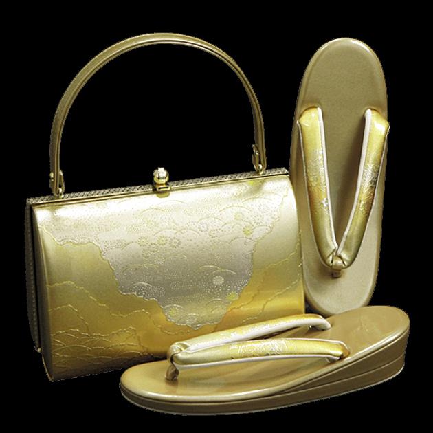 草履バッグセット【レンタル品】ゴールド系-55 草履 バッグ セット 留袖 バッグ草履セット バッグ単品 振袖用、礼装用に! bagset-55