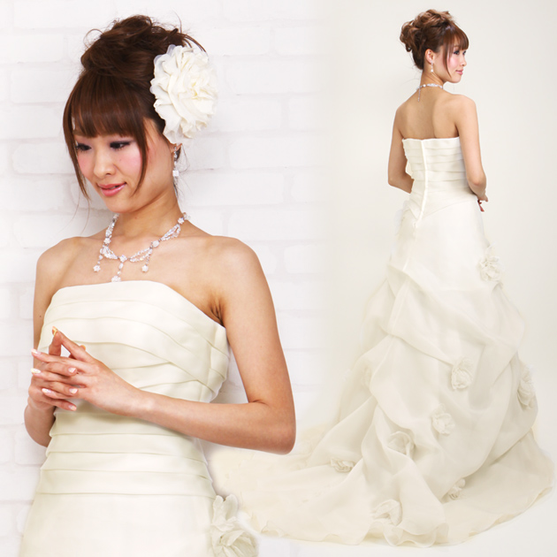 二次会ドレス レンタル 7号-9号 Aライン オフホワイト 結婚式の2次会に 8215