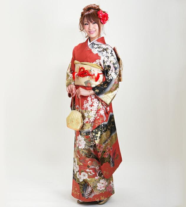 振袖 レンタル,〜165cm 赤色/桜牡丹に鴛鴦 結婚式 成人式 結納 NT-190