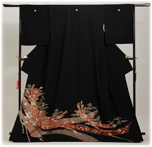 黒留袖 レンタル [広幅:13〜17号]留袖 レンタル 着物 留め袖 NT-LL884