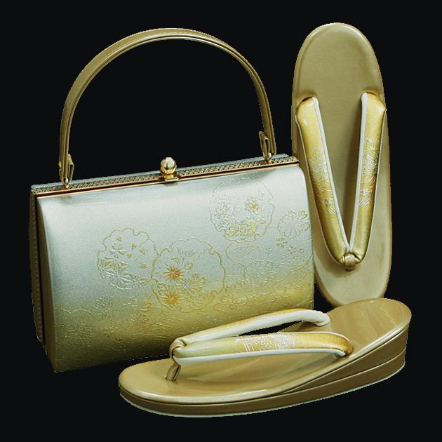 草履バッグセット【レンタル品】シルバーゴールド系-56 草履 バッグ セット 留袖 バッグ草履セット バッグ単品 振袖用、礼装用に! bagset-56