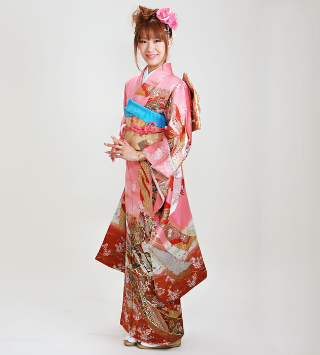 振袖 レンタル,〜168cm ピンク色/熨斗に御所車 結婚式 成人式 結納 NT-118