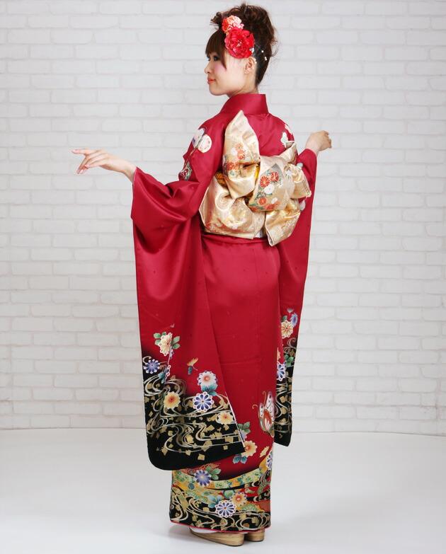 振袖 レンタル,〜168cm 赤色/蝶に菊 結婚式 成人式 結納 NT-197