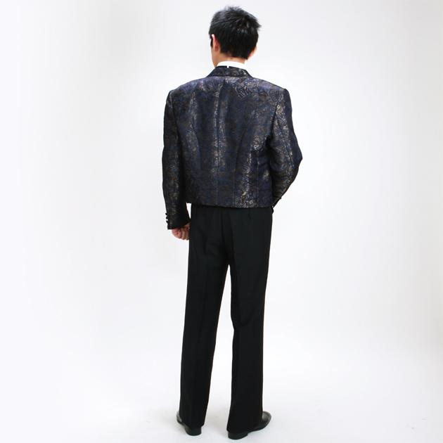 【スペンサー タキシード レンタル】L・XLサイズ/170cm〜182cm/紺・ゴールド パーティ 演奏会 ms024b
