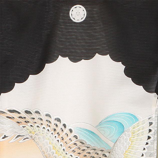 夏用 絽〔お宮参り レンタル 夏物〕黒色/波 鷹 ro-115 初着 産着 お宮参りレンタル 祝着 よだれかけ