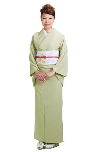 色無地 【単衣】 レンタル 6月・9月 ウグイス色 NT-29