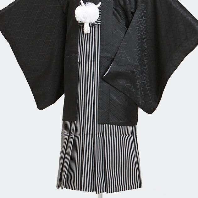 ジュニア 黒紋付袴レンタル【小】8-12〔145-154cm前後対応〕