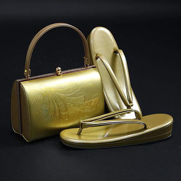 草履バッグセット【レンタル品】26cm〜27cm対応 ゴールド系-54 留袖 バッグ草履セット バッグ単品 振袖用、礼装用に! bagset-54