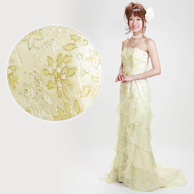 二次会ドレス レンタル 7号-9号 マーメイドライン シャンパンゴールド 結婚式の2次会に 8302