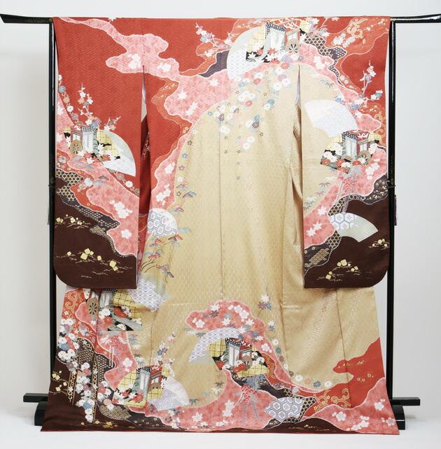 振袖 レンタル,〜165cm 茶ピンク色/四季花に御所車 結婚式 成人式 結納 NT-134