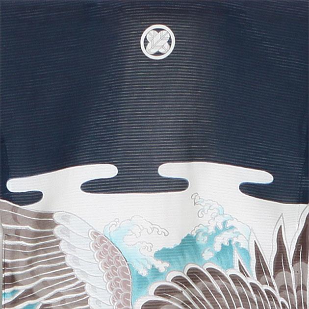 夏用 絽〔お宮参り レンタル 夏物〕紺色/波 鷹 ro-118 ふたご 男の子 初着 産着 お宮参りレンタル