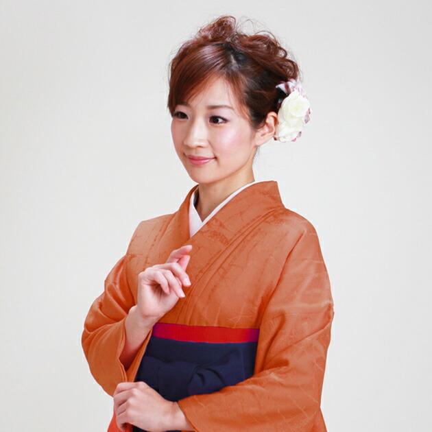 卒業式 袴 レンタル オレンジ色 身長〜155cm,7号〜13号 NT-muji38