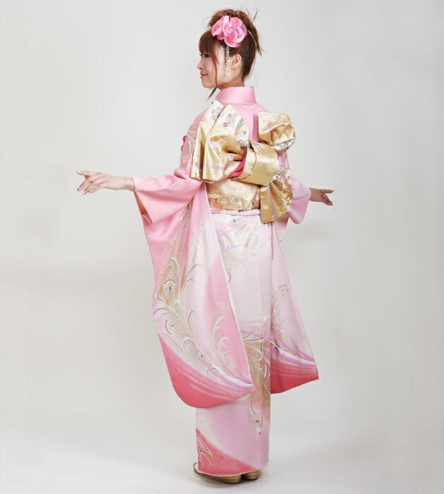 振袖 レンタル,〜165cm ピンク色/鳳凰 結婚式 成人式 結納 NT-92