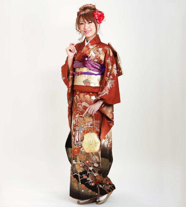 振袖 レンタル,〜168cm レンガ色/四季花に御所車 結婚式 成人式 結納 NT-150