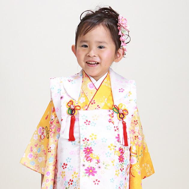 七五三 被布セット レンタル 女の子 3歳 黄色/桜まり〔身長:94cm,96cm〕 卒園式 結婚式 NT-355-15