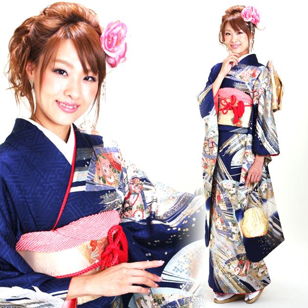 振袖 レンタル,〜165cm 紺色/扇 結婚式 成人式 結納 NT-151