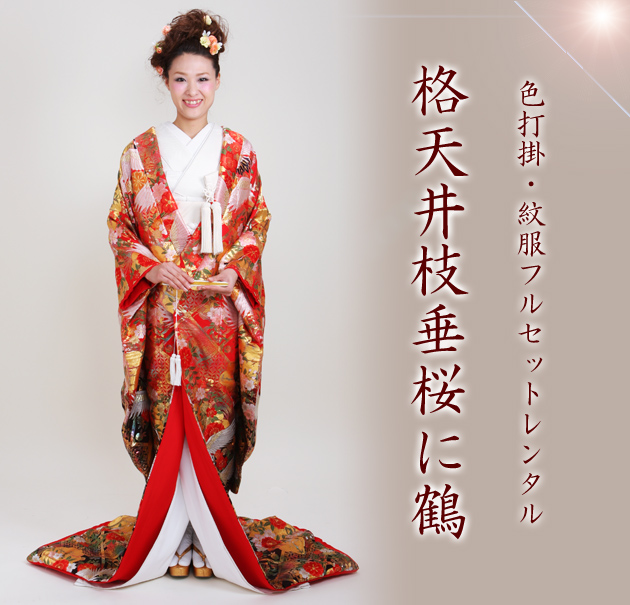 色打掛レンタル 赤黒色/格天井枝垂桜に鶴 NT-802