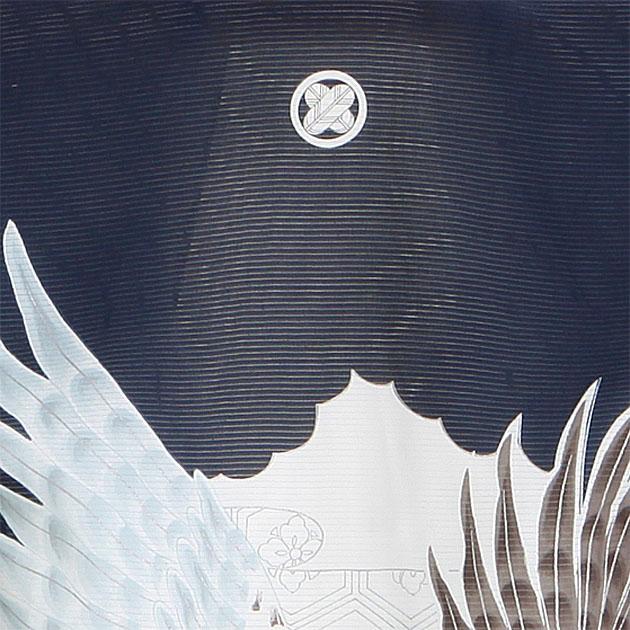夏用 絽〔お宮参り レンタル 夏物〕紺色/扇 鷹 ro-121 ふたご 男の子 初着 産着 お宮参りレンタル
