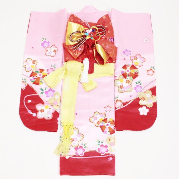 七五三 レンタル 女の子/3歳 七五三着物 ピンク色/てまり・桜〔身長:92cm,94cm〕卒園式 結婚式 NT-350