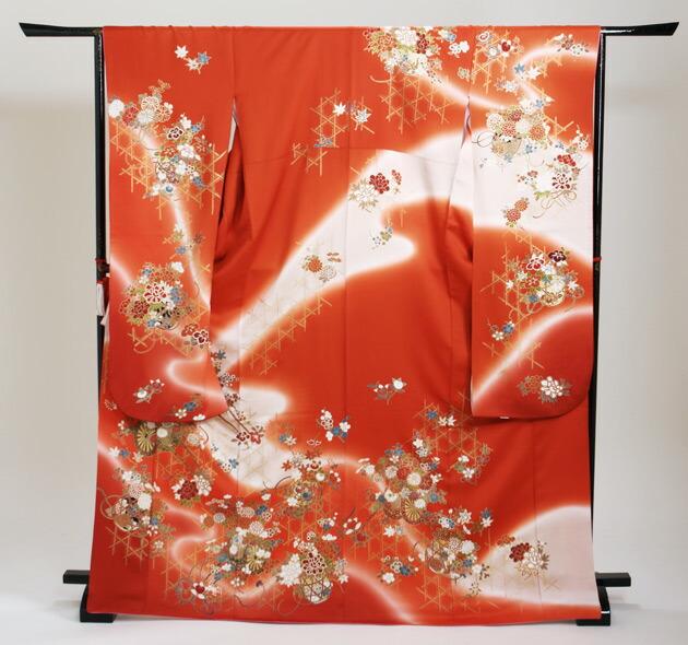 振袖 レンタル,〜165cm 朱赤色/花車 結婚式 成人式 結納 NT-111