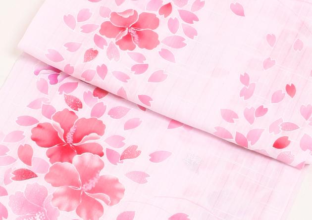 【浴衣 レンタル】レディース 3点セット☆浴衣・帯・下駄☆nt-y003 薄ピンク/桜