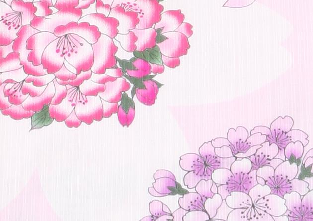 【浴衣 レンタル】レディース 3点セット☆浴衣・帯・下駄☆nt-y004 薄ピンク/桜